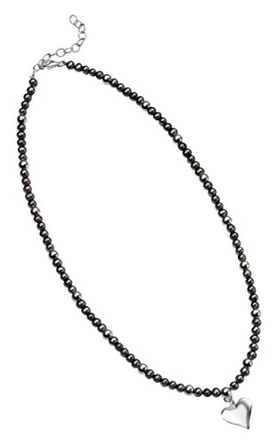 Jewelry Necklace Pearl Element (Elements Silver Womens Freshwater Pearl Heart Necklace - Silver/Black)