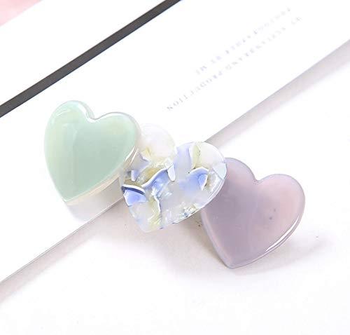 Elegant Student Spring Sheet Holder Baby Round Clips Kids Girl Love Heart Hair Clip Accessories ()