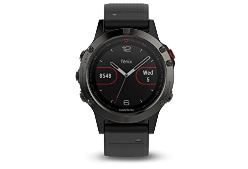 Garmin Fenix 5 Sapphire - Black with Black - Marine Stainless Steel Watch Wrist