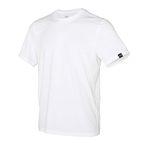 Performance Nature Tencel Crewneck T-Shirts, Skin Friendly Ultra Soft & Comfort, Cool Moisture Wicking & Quick Dry, Stylish Regular Fit Men's Short Sleeves, White Large One Pack