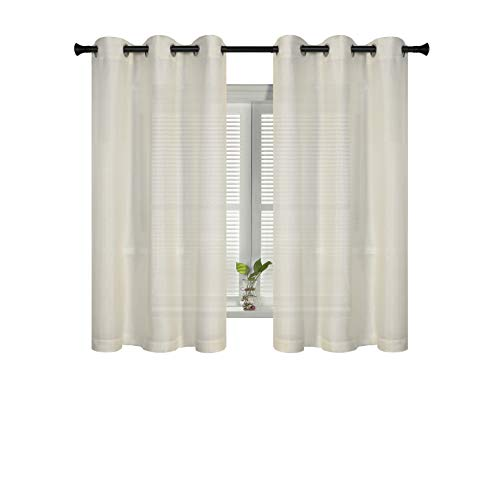 SUO AI TEXTILE Starry Faux Linen Curtain Grommet Semi-Sheer Curtains for Windows 42x63 Inch Beige 2 Panels