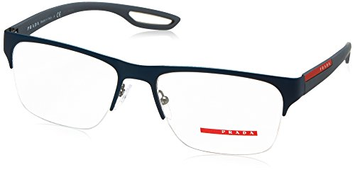 Prada PS55FV Eyeglass Frames TFY1O1-56 - Top Blue Rubber On - Prada Top