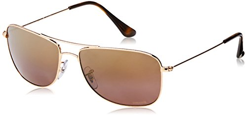 Ray-Ban RB3543 Chromance Mirrored Aviator Sunglasses, Shiny Gold/Polarized Purple Mirror, 59 ()