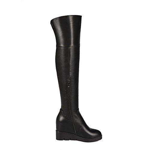 Amoonyfashion Botas Altas De Tacón Alto Para Mujer Con Plataforma Y Suela Deslizante Negro