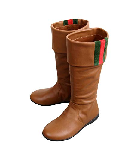 Gucci Kids Brown Leather Boots with Web Detail 285230 (G 28 / US 11) - Gucci Brown Boots