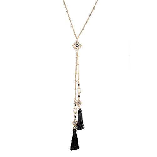 Fettero Long Gold Double Black Craft Fiber Tassel Necklace 14K Pendant Bohe Handmade Jewelry Natural Stone Crystal Imitation Pearls Flower Y Chain