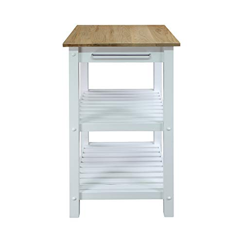 Casual Home 373-01 Sunrise (Small) with Solid Maple Top Kitchen Island, 22.75'' W, Natural&White by Casual Home (Image #6)