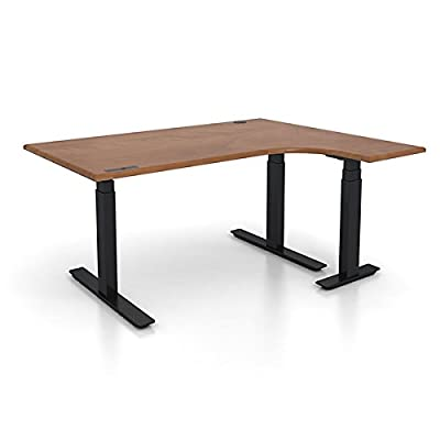 "Adjustable Height 72"" x 48"" L-Shaped Ergonomic Executive Office Desk"