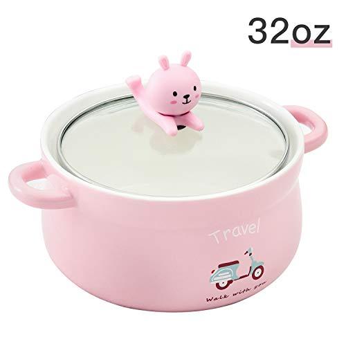 Cute Pink Rabbit 32oz Big Ceramic Bowl with Lid and Handle for Soup/Rice/Salad/Instant/Noodle/Vegetables Fruit(1000ml Pink Rabbit)