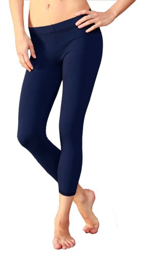 HUE So Low Jersey Crop Leggings (Extra Small, Navy) ()