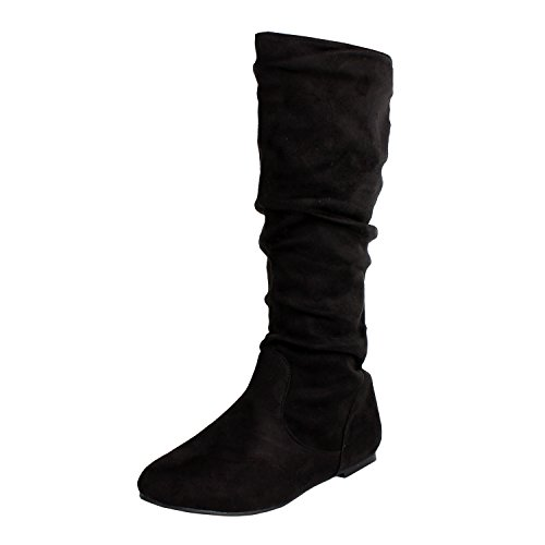 West Blvd Saigon Slouch Slouch Boots,Black (Black Suede Womens Boots)