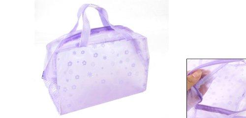 Daisy Pattern Purple Soft Plastic Meshy Side Zip Up Transparent Cosmetic Bag