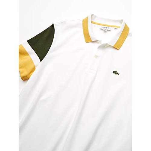 Flour//Caper Bush//PHYSALIS 3XL Lacoste Mens S//S Colorblock Strech Pique Slim FIT Polo Shirt