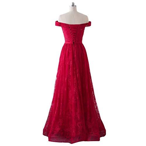 B Burgund Formalen Frauen King's rdelnder Ball Spitze Kleid von Schulter Langen Abschlussball der Boden L Abend Love Kleidern Weg ngen xHq5wq0RO