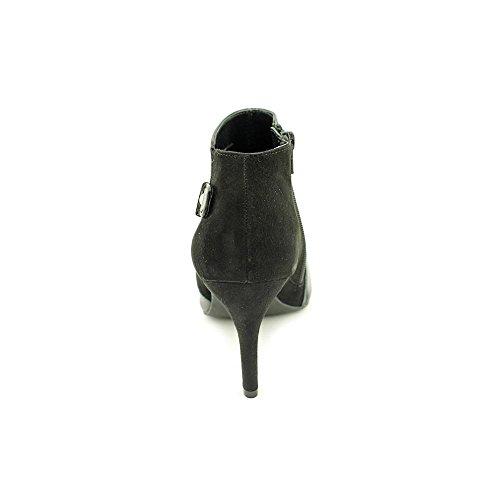 Alfani Mujeres Gabry Leather Almond Toe Tobillo Botas De Moda Negro