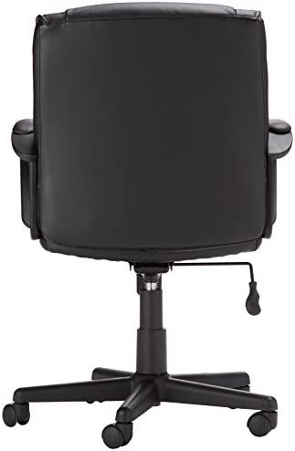 AmazonBasics Leather-Padded, Adjustable, Swivel Office Desk Chair With Armrest, Black