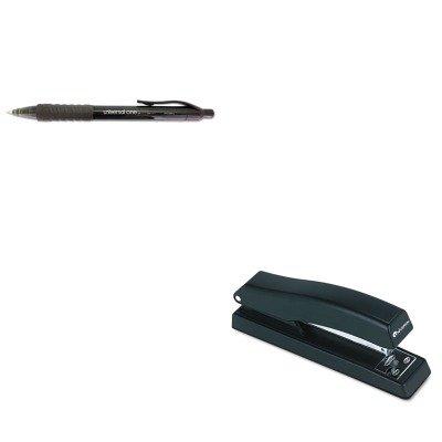 KITUNV39912UNV43118 - Value Kit - Universal Clear Barrel Roller Ball Retractable Gel Pen (UNV39912) and Universal Economy Full Strip Stapler ()