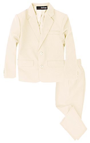 G218 Boys 2 Piece Suit Set Toddler to Teen (10, Ivory)