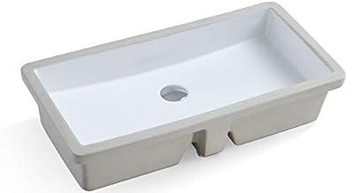 KINGSMAN Rectrangle Undermount Vitreous Ceramic Lavatory Vanity Bathroom Sink Pure White