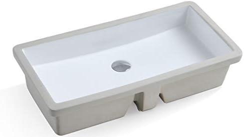 KINGSMAN Rectrangle Undermount Vitreous Ceramic Lavatory Vanity Bathroom Sink Pure White 27.9 Inch with Pop-up Drain