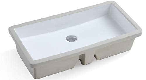 - KINGSMAN Durable 27.9 Inch Rectrangle Undermount Vitreous Ceramic Lavatory Vanity Bathroom Sink Pure White (27.9 INCH)
