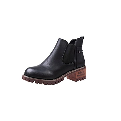 GAOLIM A Rough And Short Boots Female Spring And Autumn Season With Wild Student Ladies Boot Shoes Black DqBjsMQ