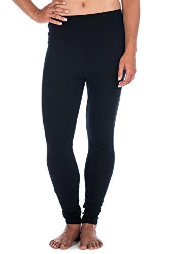 Womens Classic Waffle Knit Thermal Long John Pants - Black (Heavyweight Knit Pants)