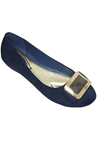 Saphir Boutique flh883 Madalyn II Kunstwildleder Schnalle Akzent Smart Flache Schuhe Mode Pumps - Blau, 3 UK/36 EU