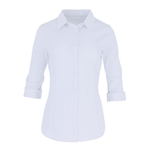 Cotton Classic Fitted Blouse - Button Down Shirts For Women By Pier 17 - Tailored, 3/4 Sleeve Shirt With Stretch - Semi Fitted For Slim, Fit Look - 97% Cotton and 3% Spandex - Lightweight and Soft Materials (Medium, White)