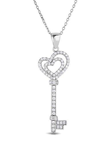 Sterling Silver Cubic Zirconia Double Open Heart Key Pendant Necklace, - Cubic Heart Open Pendant Zirconia