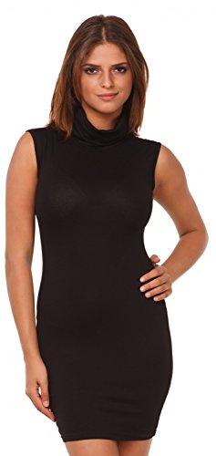 Glamour Empire. Mujer elástico vestido mini ajustado sin mangas cuello alto. 462 Negro