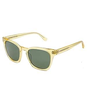 SH007 Hourvun Square Unisex Polarized Sunglasses for Men Women,Transparent Yellow Acetate Frame (Transparent yellow, green)
