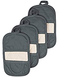 Ritz Royale Collection 100% Cotton Terry Cloth Mitz, Dual-Function Pot Holder/Oven Mitt Set, 4-Pack, Graphite
