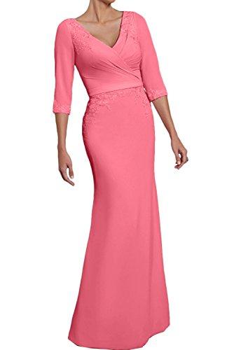 La Marie Braut Damen Figurbetont Langes Brautmutterkleider Abendkleider  Jugendweihe Kleider mit Spitze Wassermelon IVCbtxyEq 72633d07d9