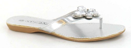 Zehensandale Schmetterlingsbesatz Spot Flache On mit Silber Damen qpBA0H
