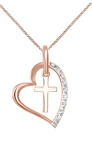 White Natural Diamond Heart Cross Pendant Necklace 14K Rose Gold Over Sterling Silver  1 10 Ct