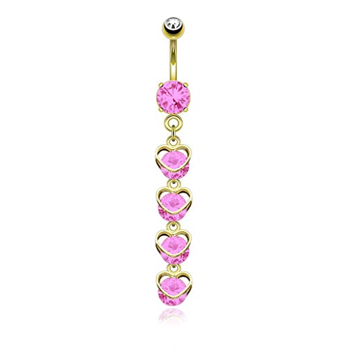Pierce2GO 14G 316L Gold Heart Cascade with Clear CZ Belly Button Ring with Pink Stones Piercing Navel Ring 7/16