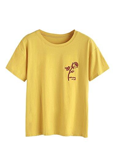 MAKEMECHIC Women's Short Sleeve Tee Summer Casual Cute Graphic Tshirt Tops Yellow S ()