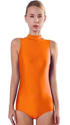 (Speerise Women Mock Neck Sleeveless Leotard Lyra Spandex Dance Bodysuit Oringe)