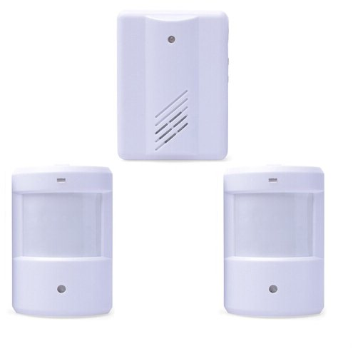 Mengshen Entry Door Bell Alarm Chime Doorbell Wireless IR Infrared Monitor Sensor Detector Split Alarm MS-YBQ032 (2 Transmitters 1 Receiver)