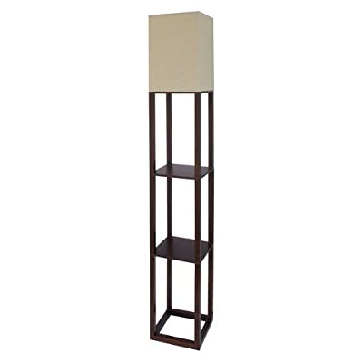 Threshold⢠Floor Shelf Lamp with Ivory Shade - Walnut