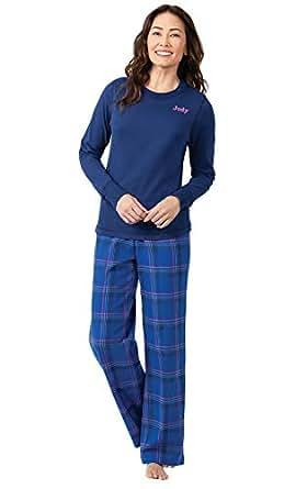 PajamaGram Personalized Womens Flannel Pajamas, Indigo, XS, 2-4