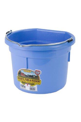 8 Quart Bucket (Miller Manufacturing P8FBBERRYBLUE Plastic Flat Back Bucket for Horses, 8-Quart, Berry Blue)