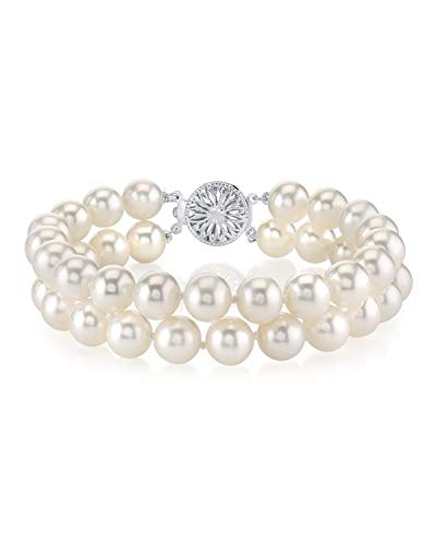 THE PEARL SOURCE Sterling Silver 7-8mm AAA Quality Round White Freshwater Cultured Pearl Double Strand Bracelet for Women