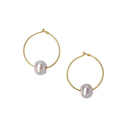Cultured Pearl Vermeil 18k - Chan Luu Petite Gold Vermeil Hoop Earrings with Grey Pearl