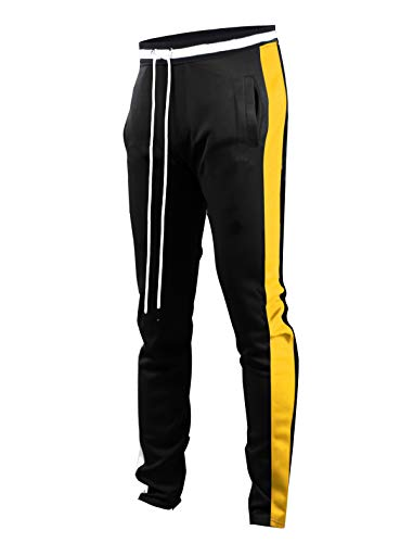 SCREENSHOTBRAND-S41700 Mens Hip Hop Premium Slim Fit Track Pants - Athletic Jogger Bottom with Side Taping-BK/GD-XLarge