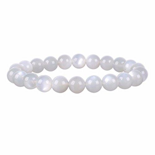 Natural White Sunstone Gemstone 8mm Round Beads Stretch Bracelet 7
