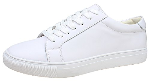 Kunsto Men's Leather Sneaker Shoes Lace Up US Size 8 White