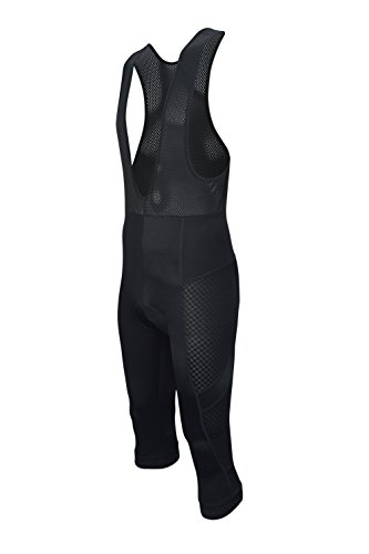 Dinamik Evo Pro Men's Cycling Bib 3/4 Shorts - Light, Breathable, Extra Padded Stretch Bike Pants (Black, X- Large)