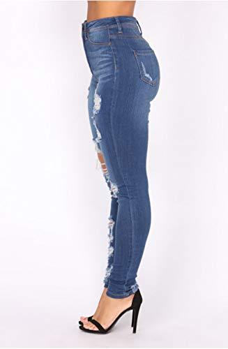 Agua Marino Jeans Elásticos Mujeres De Azul Apretados Agujeros Las DAMENGXIANG z401wq